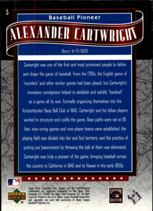 2003 SP Legendary Cuts #5 Alexander Cartwright back image