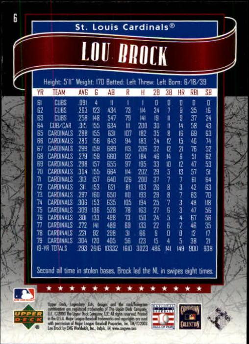 2003 SP Legendary Cuts #6 Lou Brock back image