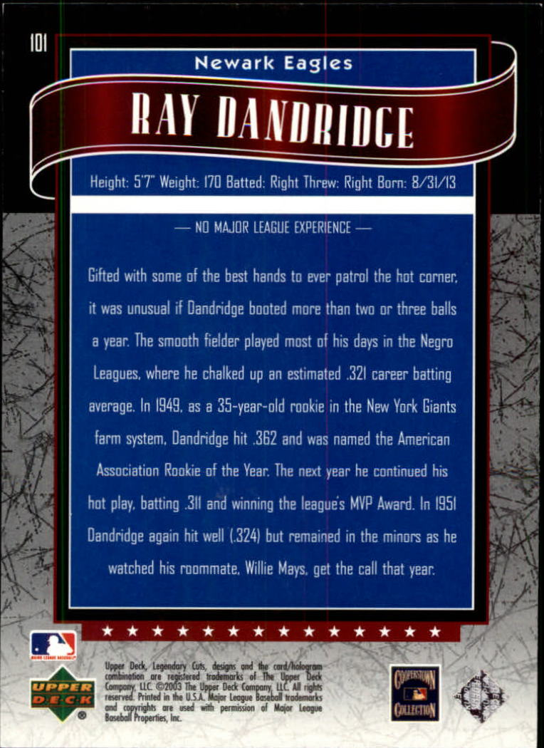 2003 SP Legendary Cuts #101 Ray Dandridge back image
