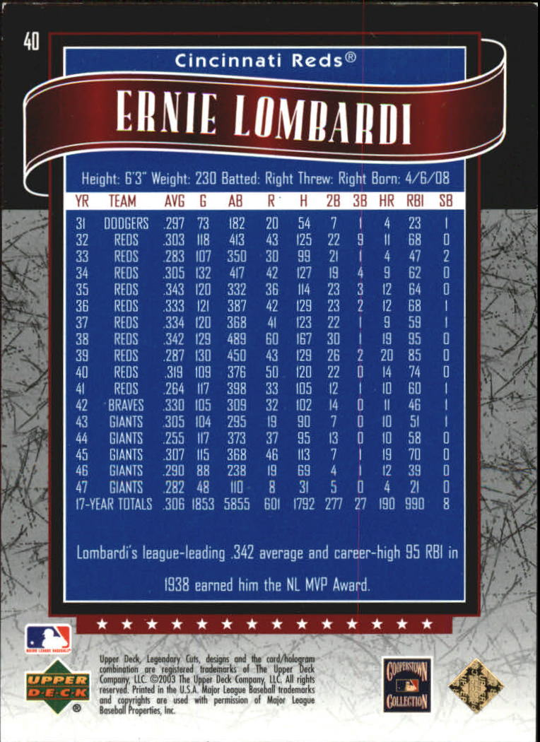 2003 SP Legendary Cuts Blue #40 Ernie Lombardi back image