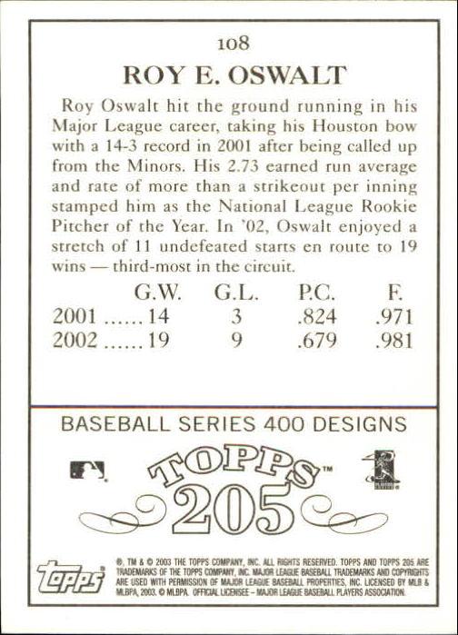 2003 Topps 205 #108 Roy Oswalt back image