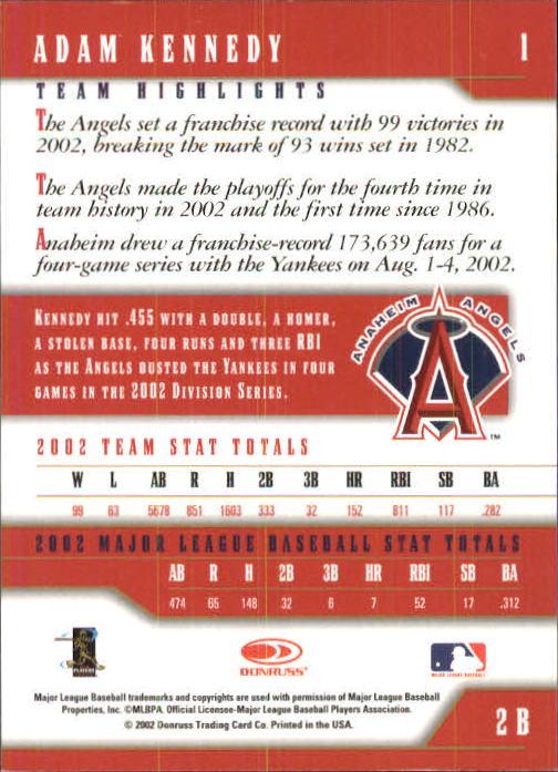 2003 Donruss Team Heroes #1 Adam Kennedy back image