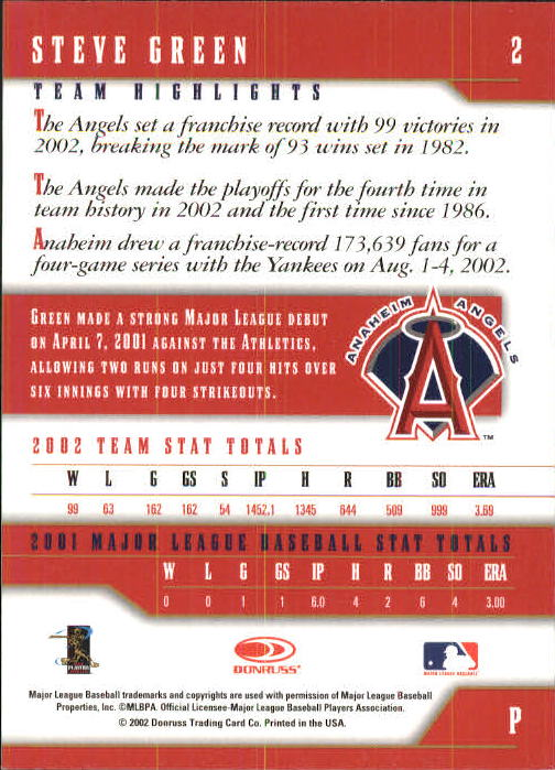 2003 Donruss Team Heroes #2 Steve Green back image
