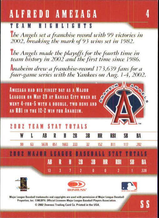 2003 Donruss Team Heroes #4 Alfredo Amezaga back image