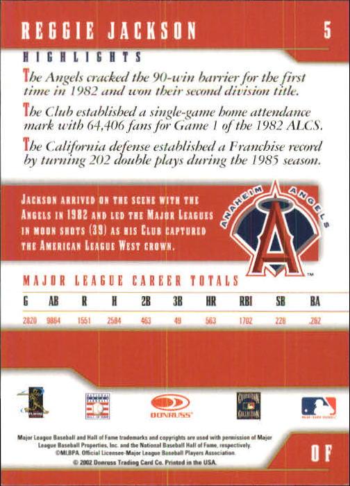 2003 Donruss Team Heroes #5 Reggie Jackson Angels back image