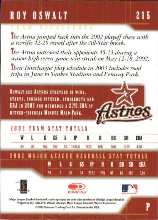 2003 Donruss Team Heroes #215 Roy Oswalt back image