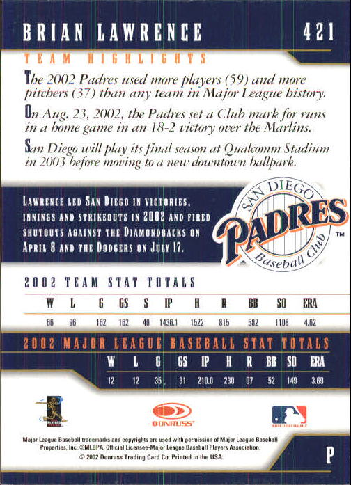 2003 Donruss Team Heroes #421 Brian Lawrence back image