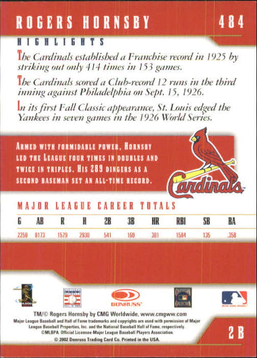 2003 Donruss Team Heroes #484 Rogers Hornsby back image