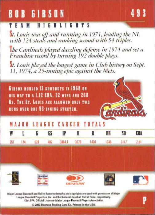 2003 Donruss Team Heroes #493 Bob Gibson back image