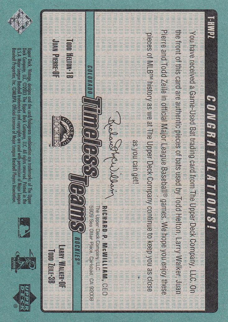 2003 Upper Deck Vintage Timeless Teams Bat Quads #HWPZ Todd Helton/Larry Walker/Juan Pierre/Todd Zeile back image