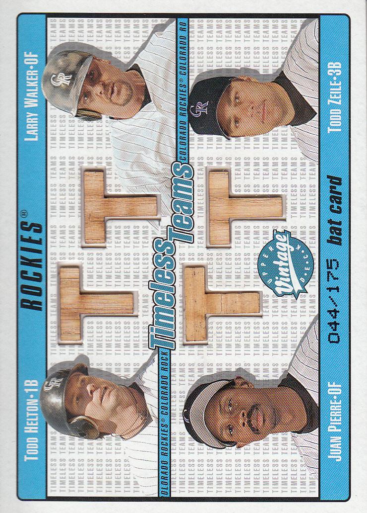 2003 Upper Deck Vintage Timeless Teams Bat Quads #HWPZ Todd Helton/Larry Walker/Juan Pierre/Todd Zeile