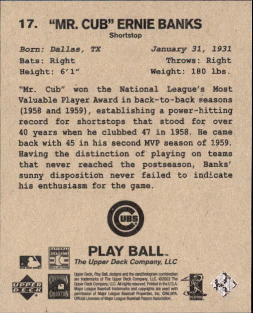 2003 Upper Deck Play Ball 1941 Series #17 Ernie Banks back image