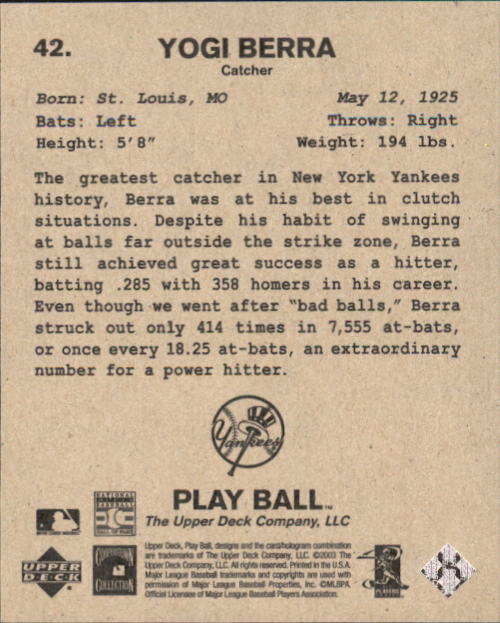 2003 Upper Deck Play Ball 1941 Series #42 Yogi Berra back image