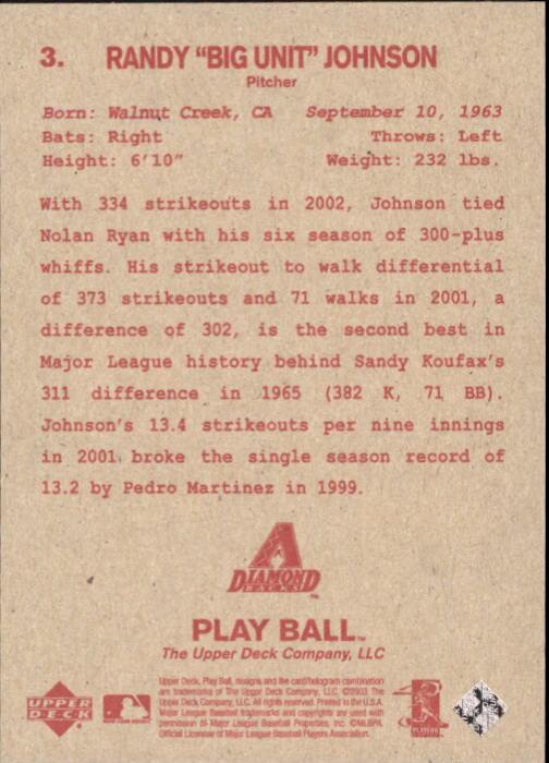 2003 Upper Deck Play Ball Red Backs #3 Randy Johnson back image