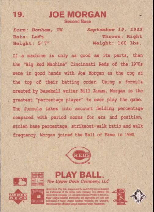 2003 Upper Deck Play Ball Red Backs #19 Joe Morgan back image