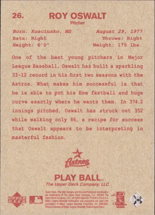 2003 Upper Deck Play Ball Red Backs #26 Roy Oswalt back image