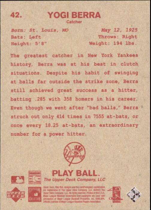 2003 Upper Deck Play Ball Red Backs #42 Yogi Berra back image