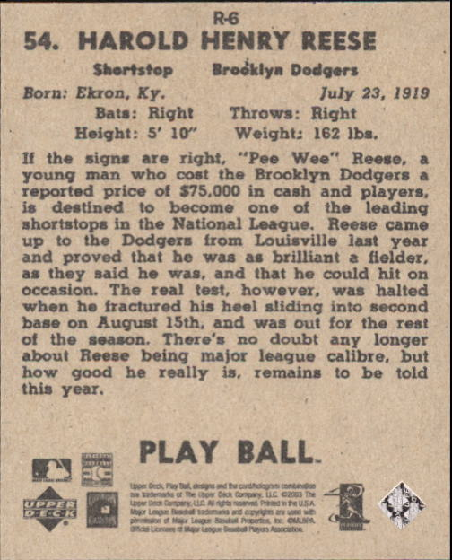 2003 Upper Deck Play Ball 1941 Reprints #R6 Pee Wee Reese back image