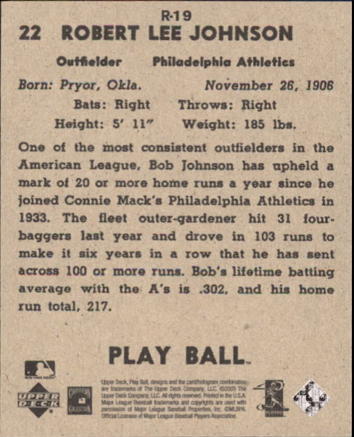 2003 Upper Deck Play Ball 1941 Reprints #R19 Indian Bob Johnson back image