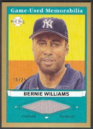 2003 Upper Deck Play Ball Game Used Memorabilia Tier 1 Gold #BW1 Bernie Williams Jsy