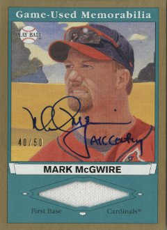 2003 Upper Deck Play Ball Game Used Memorabilia Tier 2 Signatures #MM2 Mark McGwire Jsy