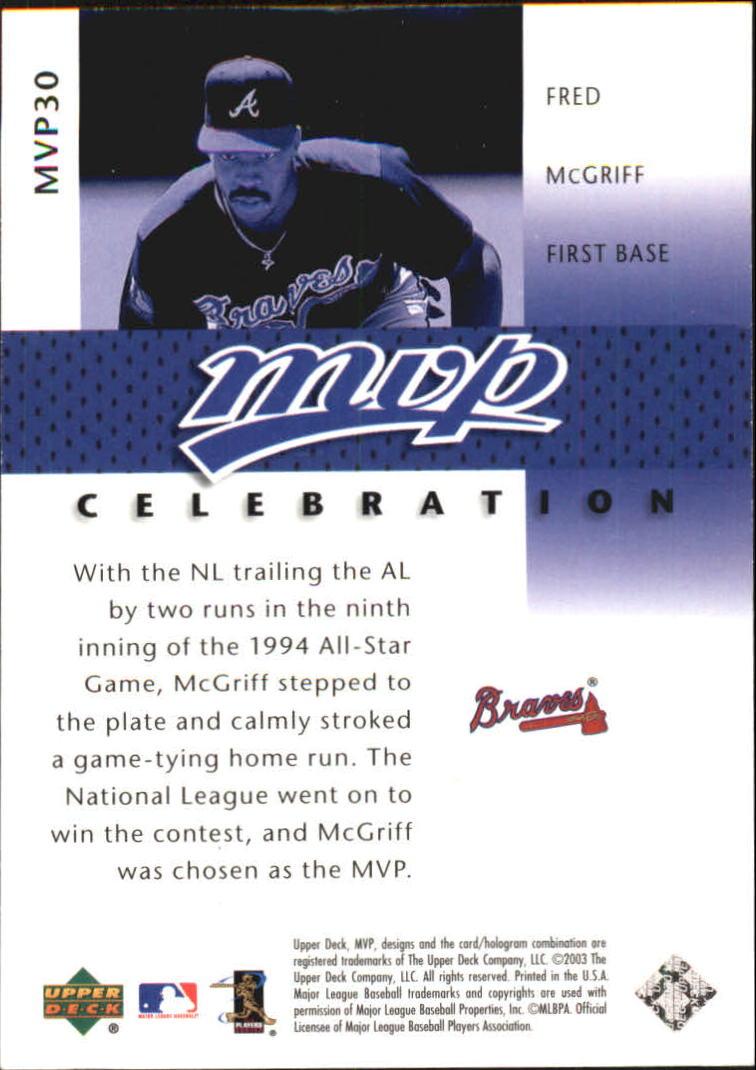 2003 Upper Deck MVP Celebration #30 Fred McGriff AS/1994 - NM-MT