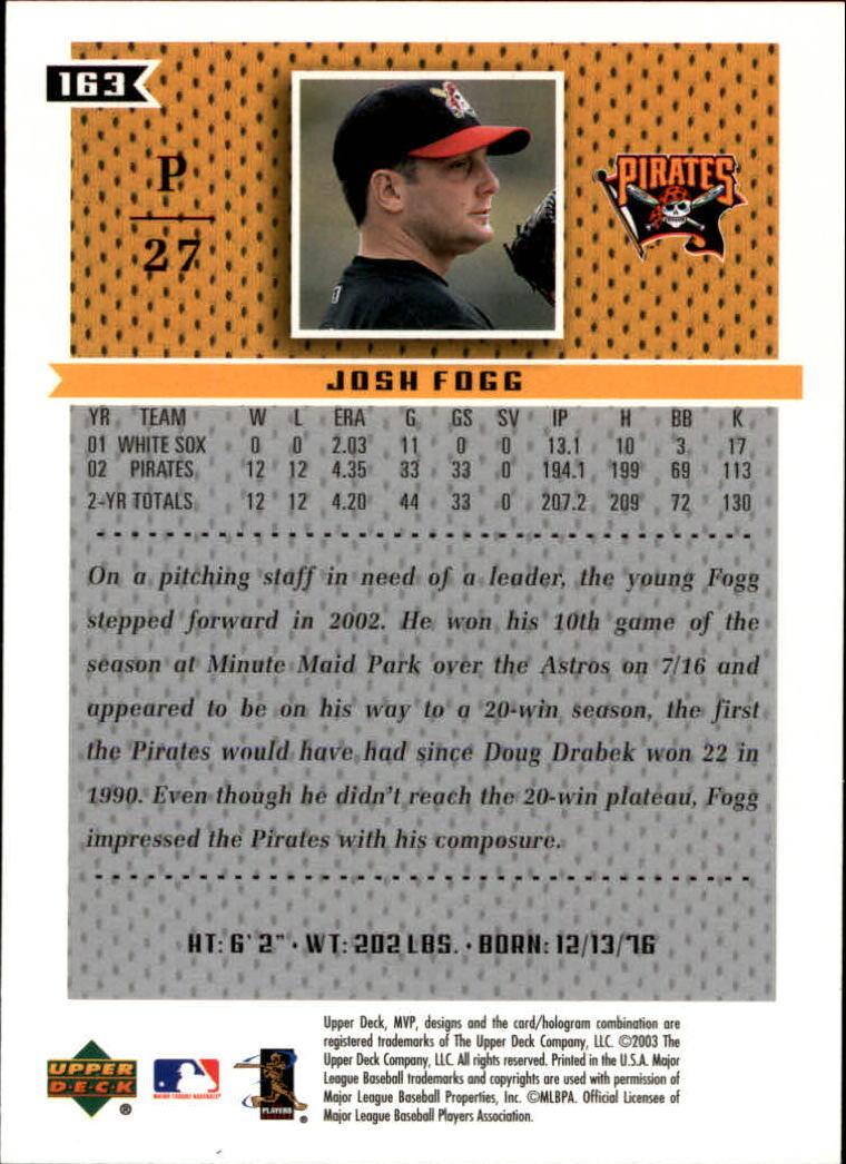 2003 Upper Deck MVP #163 Josh Fogg back image