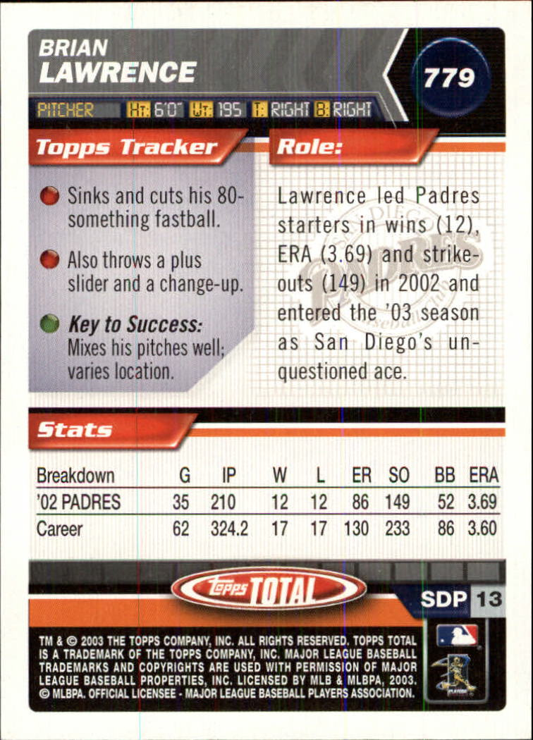 2003 Topps Total #779 Brian Lawrence back image