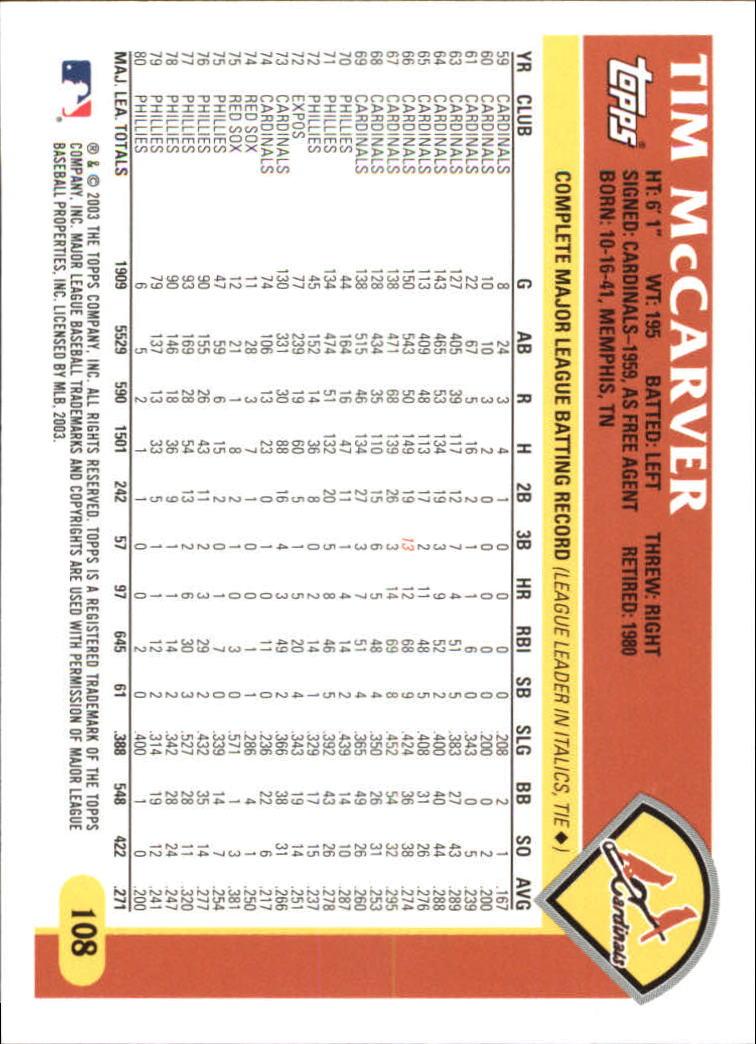 2003 Topps Retired Signature #108 Tim McCarver back image