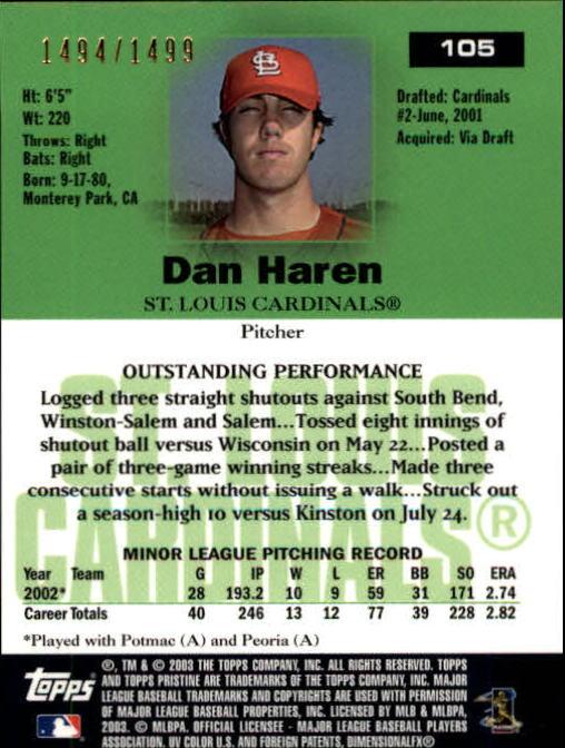 2003 Topps Pristine #105 Dan Haren U back image