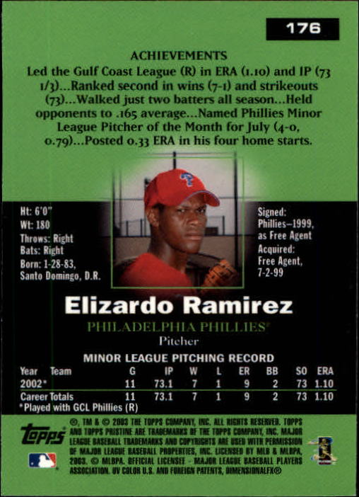2003 Topps Pristine #176 Elizardo Ramirez C RC back image