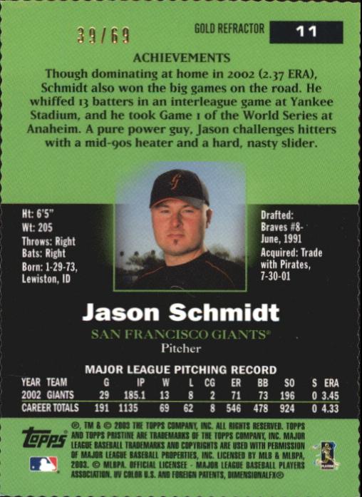 2003 Topps Pristine Gold Refractors #11 Jason Schmidt back image