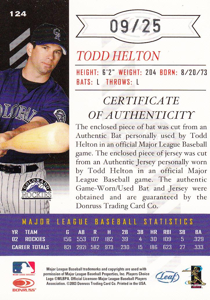 2003 Leaf Limited TNT Prime #124 Todd Helton A Bat-Jsy back image