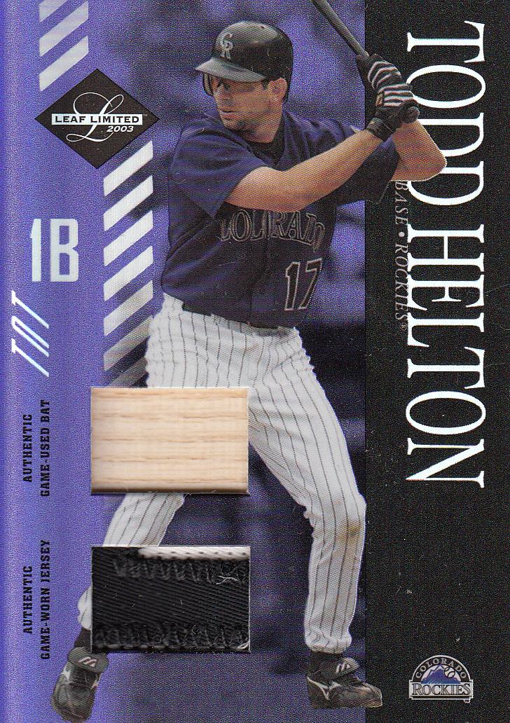 2003 Leaf Limited TNT Prime #124 Todd Helton A Bat-Jsy