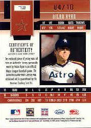 2003 Leaf Certified Materials Mirror Gold Materials #72 Nolan Ryan Astros Jsy/10 back image