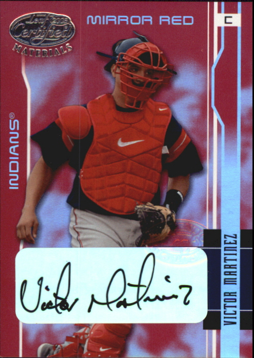 2003 Leaf Certified Materials Mirror Red Autographs #51 Victor Martinez/15