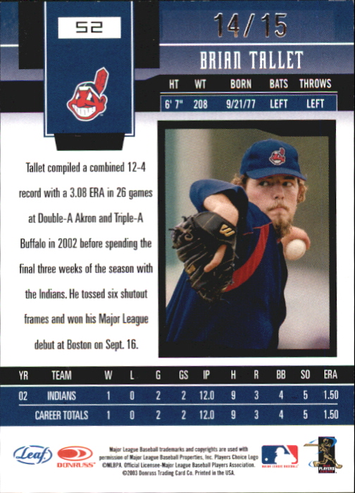 2003 Leaf Certified Materials Mirror Red Autographs #52 Brian Tallet/15 back image