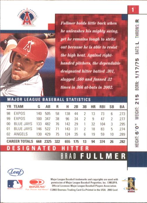2003 Leaf #1 Brad Fullmer back image