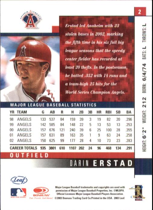2003 Leaf #2 Darin Erstad back image