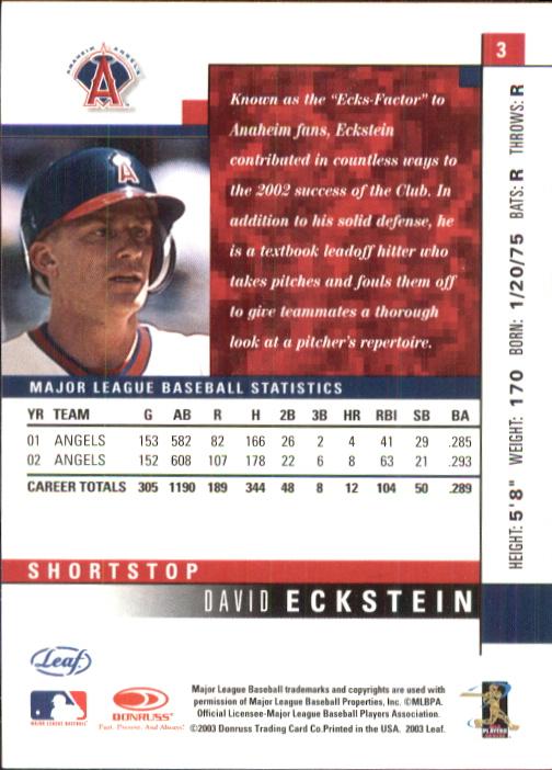 2003 Leaf #3 David Eckstein back image