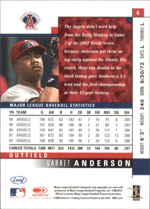 2003 Leaf #4 Garret Anderson back image