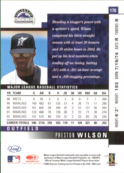 2003 Leaf #170 Preston Wilson back image