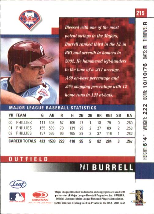 2003 Leaf #215 Pat Burrell back image