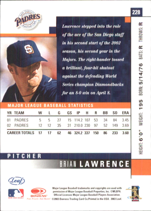 2003 Leaf #228 Brian Lawrence back image