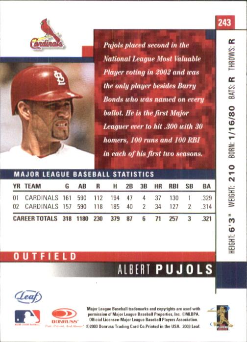 2003 Leaf #243 Albert Pujols back image