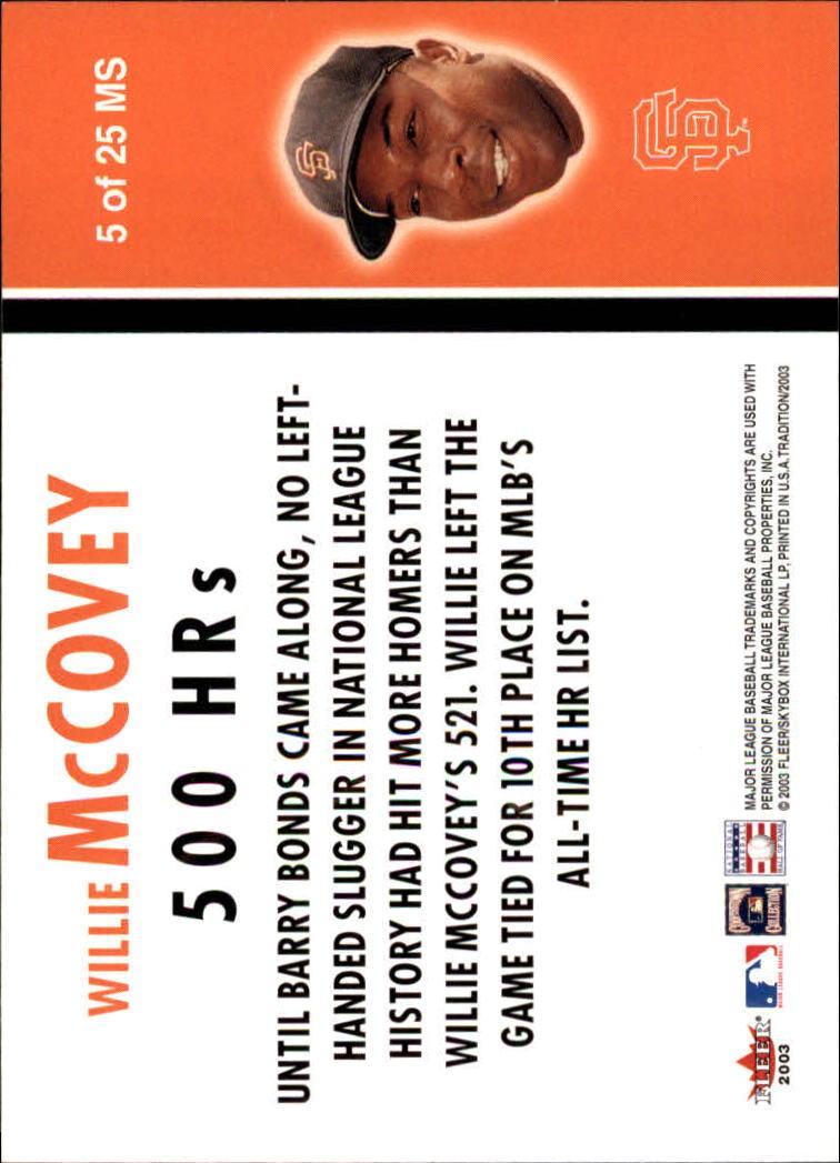 2003 Fleer Tradition Milestones #5 Willie McCovey back image