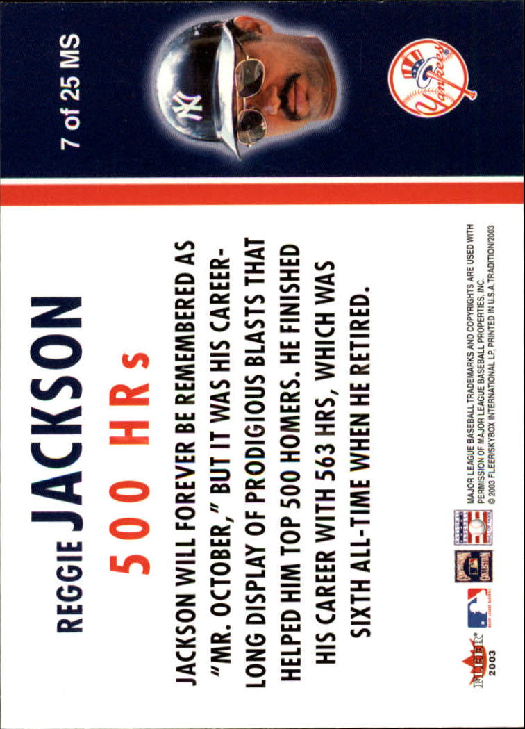 2003 Fleer Tradition Milestones #7 Reggie Jackson back image