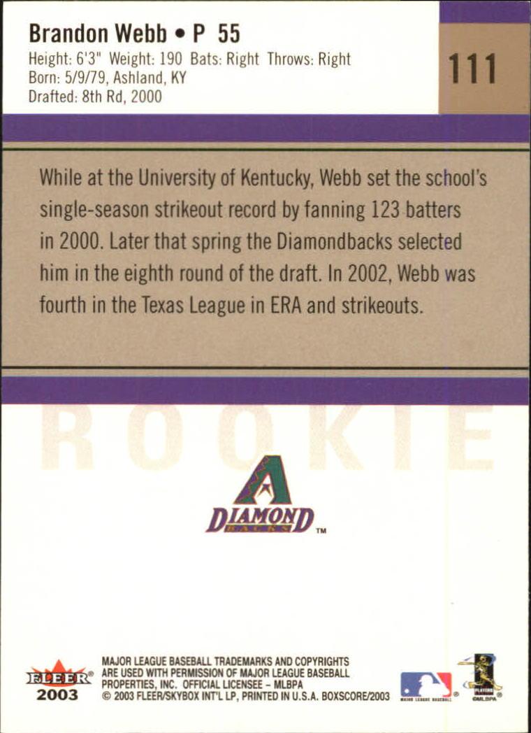 2003 Fleer Box Score #111 Brandon Webb ROO RC back image