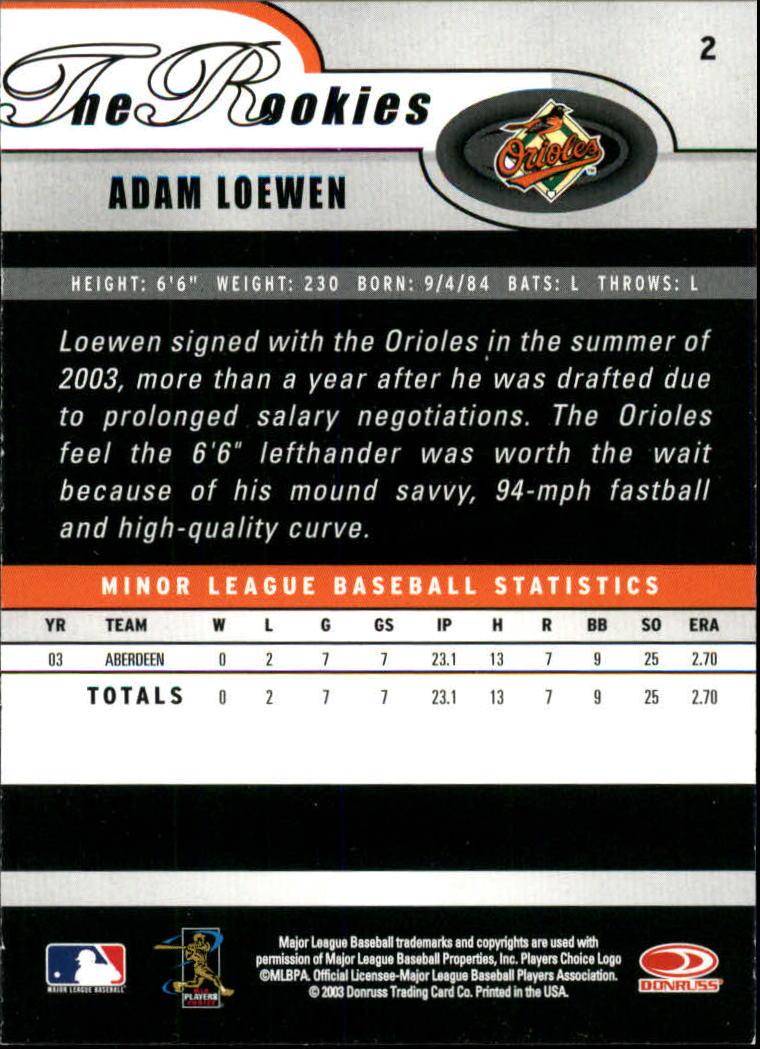2003 Donruss Rookies #2 Adam Loewen RC back image