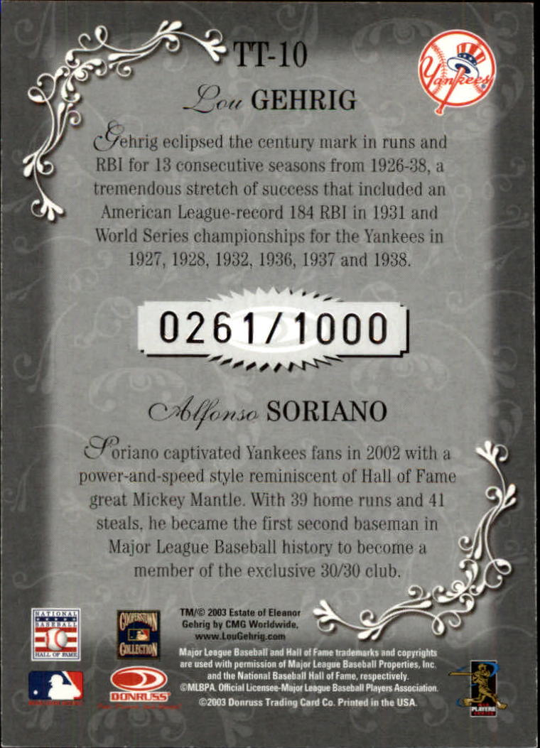 2003 Diamond Kings Team Timeline #10 L.Gehrig/A.Soriano back image